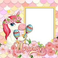 Empty banner with cute unicorn on pastel mermaid scales vector