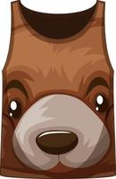 camiseta sin mangas con estampado de cara de oso vector