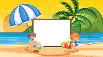 Empty banner template with kids on vacation at the beach sunset scene vector