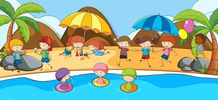 Beach scene with many kids doodle cartoon character vector