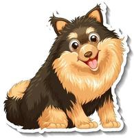 Sticker design with pomeranian dog isolated vector