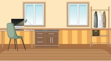 Workspace interior design at home vector