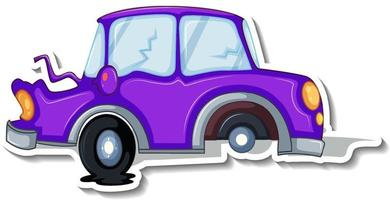 Sticker design with wrecked car isolated vector