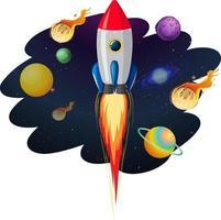 nave espacial con muchos planetas y asteroides. vector