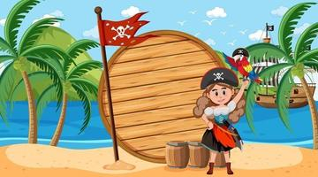 Pirate woman at the beach daytime scene with an empty banner template vector