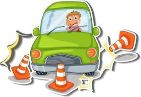 Sticker design with car accident isolated vector