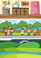 Different horizontal scenes with doodle kids cartoon character vector
