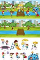 Different horizontal scenes background with doodle kids cartoon vector