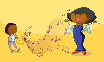 Doodle cartoon singer woman singing with musical melody symbols vector