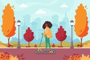 African american woman riding electric scooter in autumn park vector