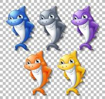 Set of smiling cute sharks vector