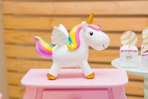 Porcelain unicorn used for children's party decoration photo