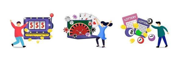 Conjunto de adicción al juego en línea. casino de internet de entretenimiento arriesgado vector