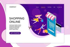 Shopping online web landing page template. Bank card inserted vector