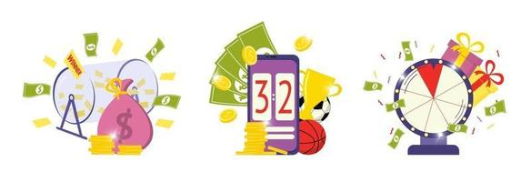 Playing lottery awards raffle, sports betting and fortune wheel icons vector