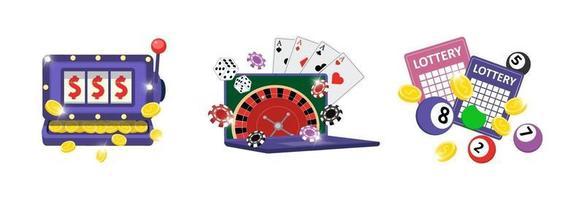 Online gambling addiction icon set. Risky entertainment casino vector