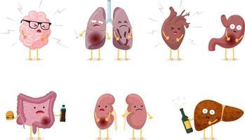 Cute cartoon unhealthy sick human internal organ character set vector