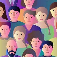 Group of people seamless pattern. Colorful vector illustration