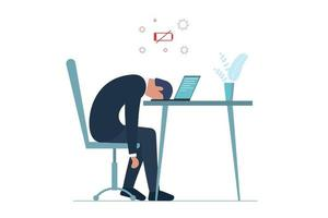 Male manager professional burnout syndrome. Exhausted sick tired vector