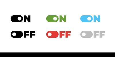 On Off mode switch button sliders. Toggle modern flat UX UI design vector