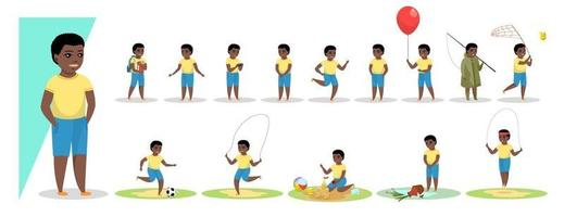 Little african american boy in various gesture expression poses vector