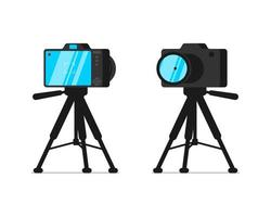 SLR camera on tripod stand front and back view set vector