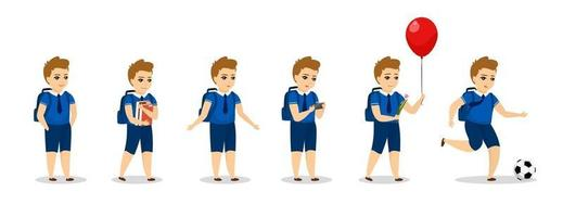 Schoolboy kid character different poses. Cute cartoon boy in uniform vector