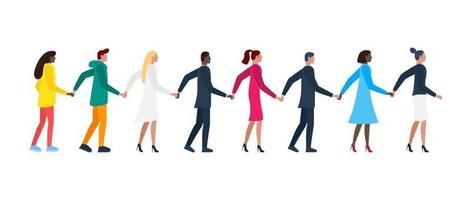 Queue of different men and women holding hands. White and color people vector