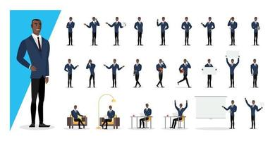 Successful black colored businessman in blue suit showing gestures vector