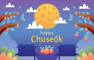 Chuseok Festival with Night Scene and Persimmon Tree vector