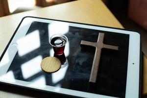 Bread and grape juice Christian ceremony photo