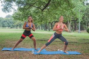 Two female friends do sports and yoga in the park photo