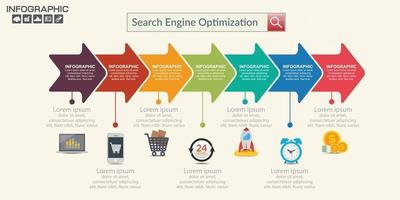 Seo internet marketing infographics set with step and icons vector