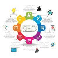 SEO infografía de marketing en Internet con paso e iconos vector