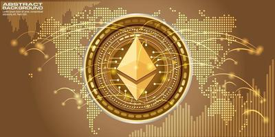 Golden symbol coin ethereum on electronic circuit background. vector