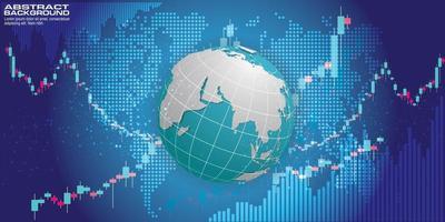 Círculos de tecnología abstracta y fondo de vector de mapa mundial.