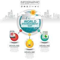 Earth globe with infographic World Environment Day concept. vector
