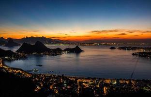 Beautiful sunset in the park of the city of Niteroi, Rio de Janeiro, Brazil photo