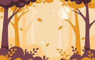 Autumn Forest Trees Scenery Background vector