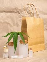 Health set of natural hemp cosmetics, marijuana skin care product photo