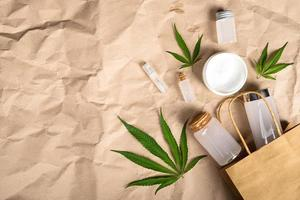 Cannabis product for health, cosmetic set with skin care photo