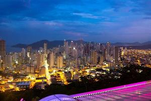 Night view of the city of Balneario Camboriu in Santa Catarina, Brazil photo