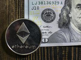 Silver Ethereum on US dollars photo
