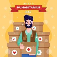 Man Character of World Humanitarian Day vector