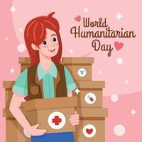 World Humanitarian Day Woman Character vector
