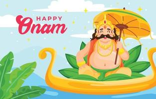 Cute Character Happy Onam Festival Day vector