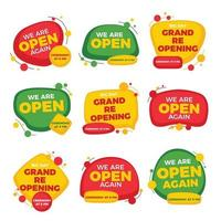 Eye Catching Grand Reopening Stickers vector