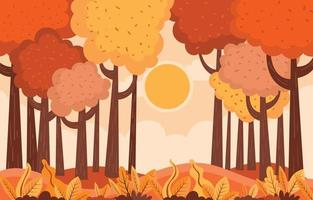 Bright Orange Afternoon during Fall Season Background vector