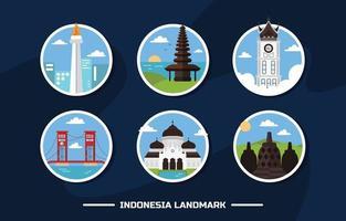 Indonesia Landmark Icon Set vector