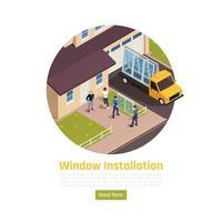 Window Installation Isometric Composition Vector Illustration